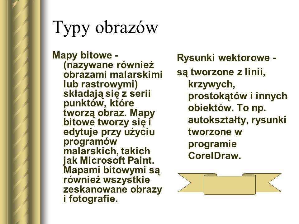 Typy obrazów Mapy bitowe - (nazywane również obrazami malarskimi lub rastrowymi) składają się z serii punktów, które tworzą obraz.