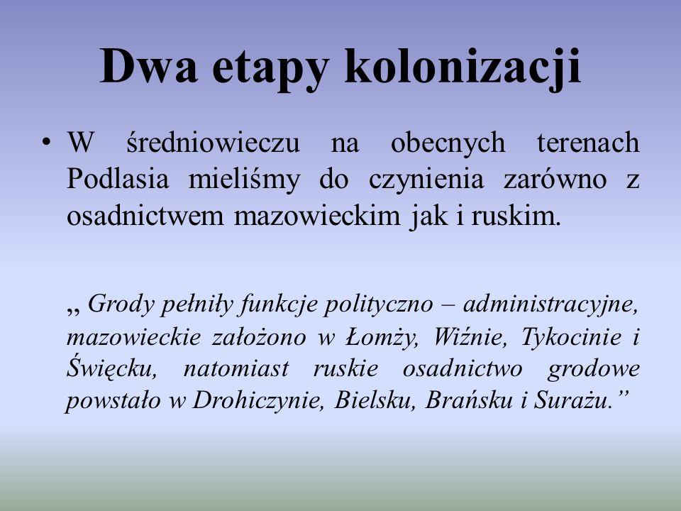 """Dwa etapy kolonizacji W średniowieczu na obecnych terenach Podlasia mieliśmy do czynienia zarówno z osadnictwem mazowieckim jak i ruskim. """" Grody pełn"""