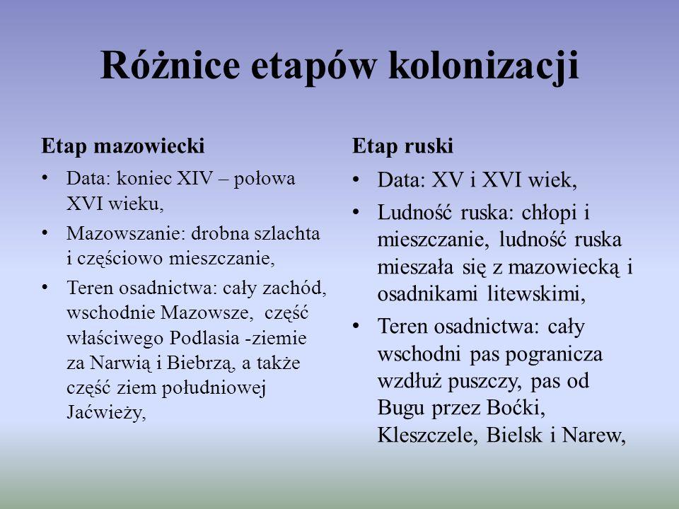 Różnice etapów kolonizacji Etap mazowiecki Data: koniec XIV – połowa XVI wieku, Mazowszanie: drobna szlachta i częściowo mieszczanie, Teren osadnictwa