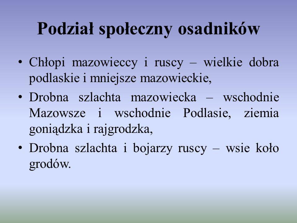 Podział społeczny osadników Chłopi mazowieccy i ruscy – wielkie dobra podlaskie i mniejsze mazowieckie, Drobna szlachta mazowiecka – wschodnie Mazowsz
