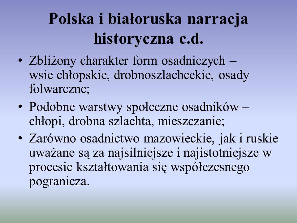 Polska i białoruska narracja historyczna c.d. Zbliżony charakter form osadniczych – wsie chłopskie, drobnoszlacheckie, osady folwarczne; Podobne warst