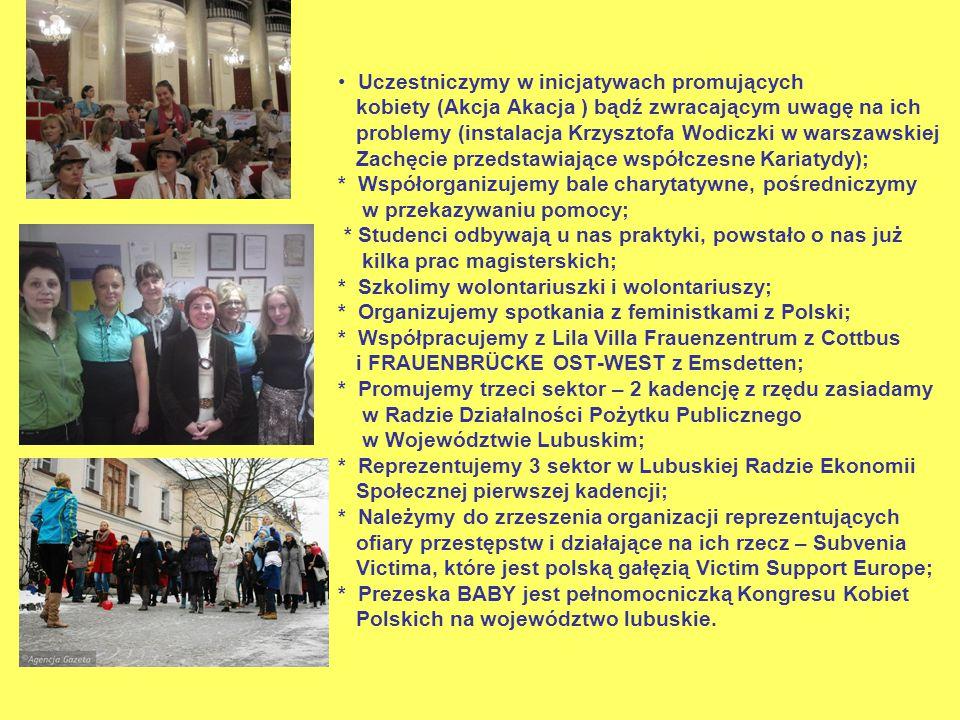 Uczestniczymy w inicjatywach promujących kobiety (Akcja Akacja ) bądź zwracającym uwagę na ich problemy (instalacja Krzysztofa Wodiczki w warszawskiej Zachęcie przedstawiające współczesne Kariatydy); * Współorganizujemy bale charytatywne, pośredniczymy w przekazywaniu pomocy; * Studenci odbywają u nas praktyki, powstało o nas już kilka prac magisterskich; * Szkolimy wolontariuszki i wolontariuszy; * Organizujemy spotkania z feministkami z Polski; * Współpracujemy z Lila Villa Frauenzentrum z Cottbus i FRAUENBRÜCKE OST-WEST z Emsdetten; * Promujemy trzeci sektor – 2 kadencję z rzędu zasiadamy w Radzie Działalności Pożytku Publicznego w Województwie Lubuskim; * Reprezentujemy 3 sektor w Lubuskiej Radzie Ekonomii Społecznej pierwszej kadencji; * Należymy do zrzeszenia organizacji reprezentujących ofiary przestępstw i działające na ich rzecz – Subvenia Victima, które jest polską gałęzią Victim Support Europe; * Prezeska BABY jest pełnomocniczką Kongresu Kobiet Polskich na województwo lubuskie.