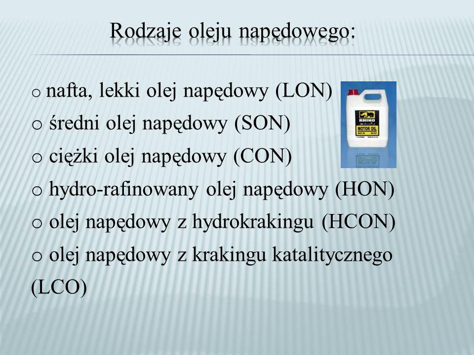 o nafta, lekki olej napędowy (LON) o średni olej napędowy (SON) o ciężki olej napędowy (CON) o hydro-rafinowany olej napędowy (HON) o olej napędowy z hydrokrakingu (HCON) o olej napędowy z krakingu katalitycznego (LCO)