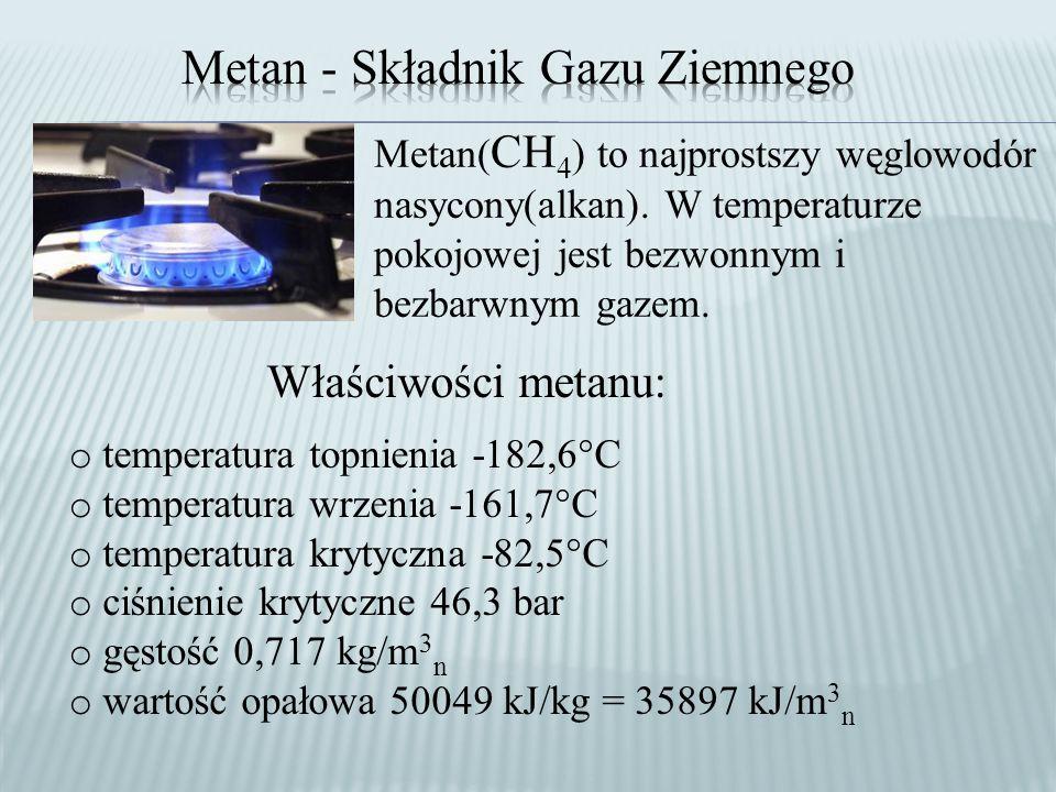 Metan( CH 4 ) to najprostszy węglowodór nasycony(alkan).