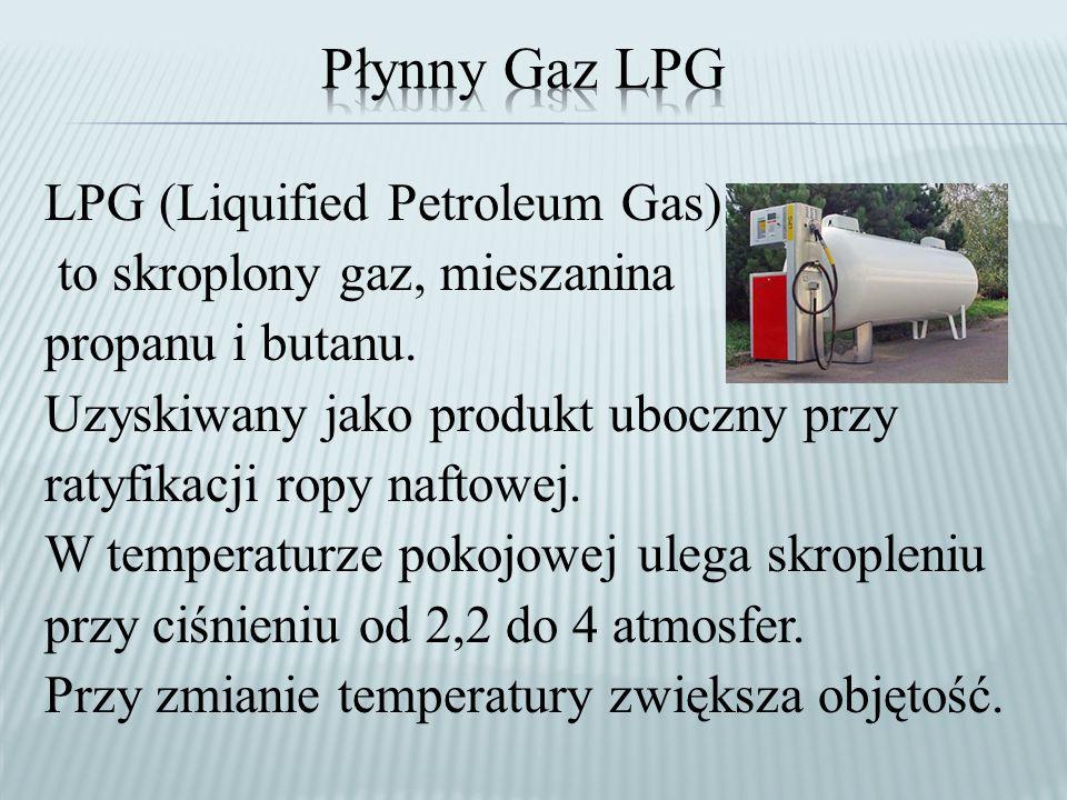 LPG (Liquified Petroleum Gas) to skroplony gaz, mieszanina propanu i butanu.