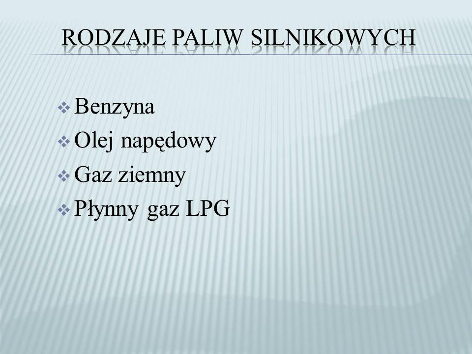  Benzyna  Olej napędowy  Gaz ziemny  Płynny gaz LPG