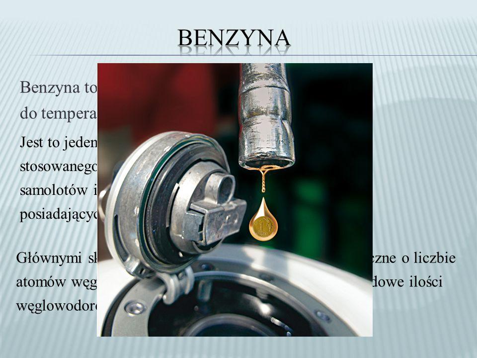 Benzyna to frakcje ropy naftowej wrzące do temperatury 220 o C.