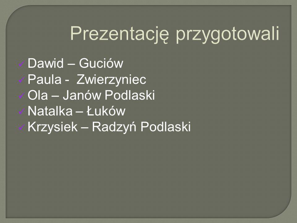 Dawid – Guciów Paula - Zwierzyniec Ola – Janów Podlaski Natalka – Łuków Krzysiek – Radzyń Podlaski