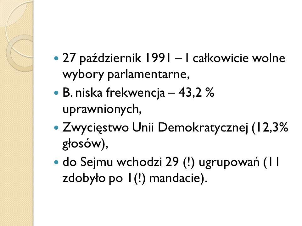 27 październik 1991 – I całkowicie wolne wybory parlamentarne, B. niska frekwencja – 43,2 % uprawnionych, Zwycięstwo Unii Demokratycznej (12,3% głosów