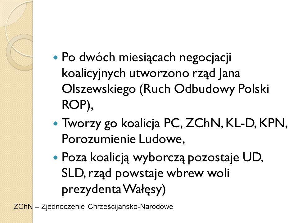 Po dwóch miesiącach negocjacji koalicyjnych utworzono rząd Jana Olszewskiego (Ruch Odbudowy Polski ROP), Tworzy go koalicja PC, ZChN, KL-D, KPN, Poroz