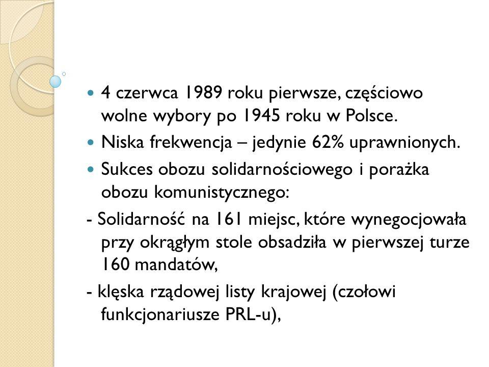 4 czerwca 1989 roku pierwsze, częściowo wolne wybory po 1945 roku w Polsce. Niska frekwencja – jedynie 62% uprawnionych. Sukces obozu solidarnościoweg