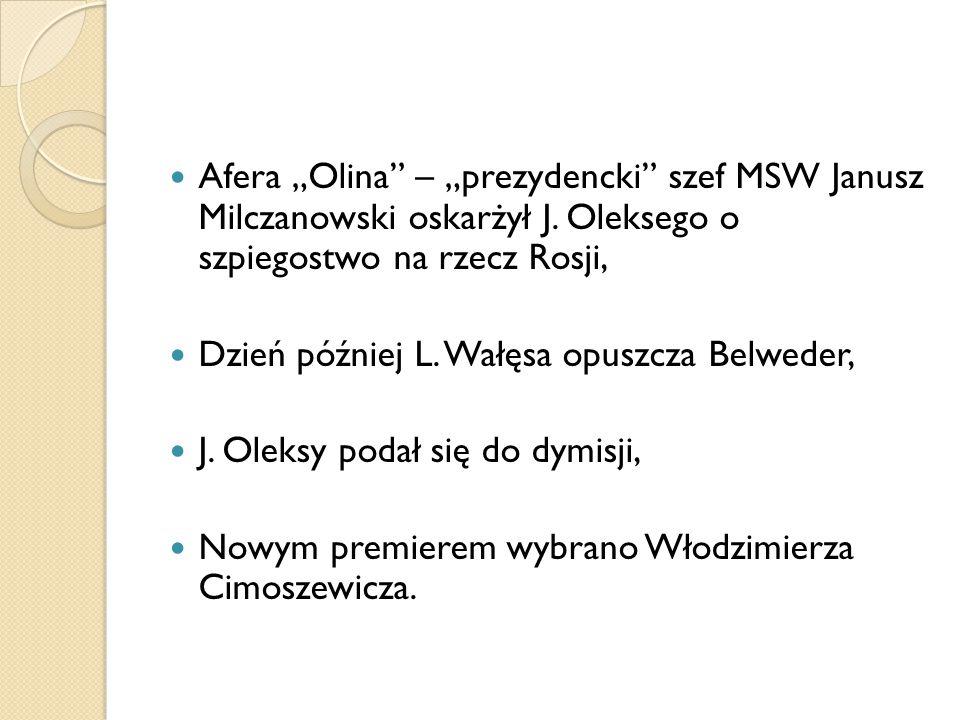 """Afera """"Olina"""" – """"prezydencki"""" szef MSW Janusz Milczanowski oskarżył J. Oleksego o szpiegostwo na rzecz Rosji, Dzień później L. Wałęsa opuszcza Belwede"""