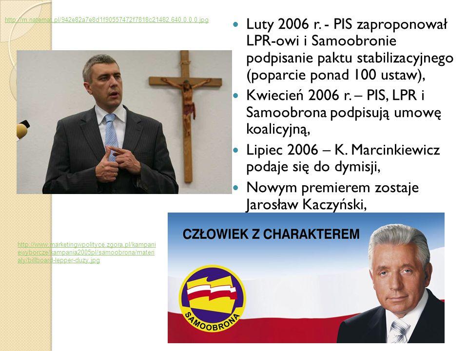 Luty 2006 r. - PIS zaproponował LPR-owi i Samoobronie podpisanie paktu stabilizacyjnego (poparcie ponad 100 ustaw), Kwiecień 2006 r. – PIS, LPR i Samo