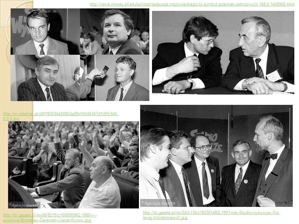 1990 – I wolne wybory prezydenckie wygrywa Lech Wałęsa, Do II tury przechodzi także Stan Tymiński (reemigrant z Kanady zdobywa aż 23,1 % głosów), Inni kandydaci: Tadeusz Mazowiecki (przegraną uznał za brak zaufania społecznego i złożył dymisję z funkcji premiera) Roman Bartoszcze (PSL) Włodzimierz Cimoszewicz (formalnie bezpartyjny, wspierany przez postkomunistów) Leszek Moczulski (prawicowa Konfederacja Polski Niepodłegłej – KPN) http://i.wp.pl/a/f/jpeg/27629/egzotyczni_kandydaci_2.jpeg https://s-media-cache- ak0.pinimg.com/originals/5c/f3/50/5cf3509e4c6df24f9494411 76447b942.jpg