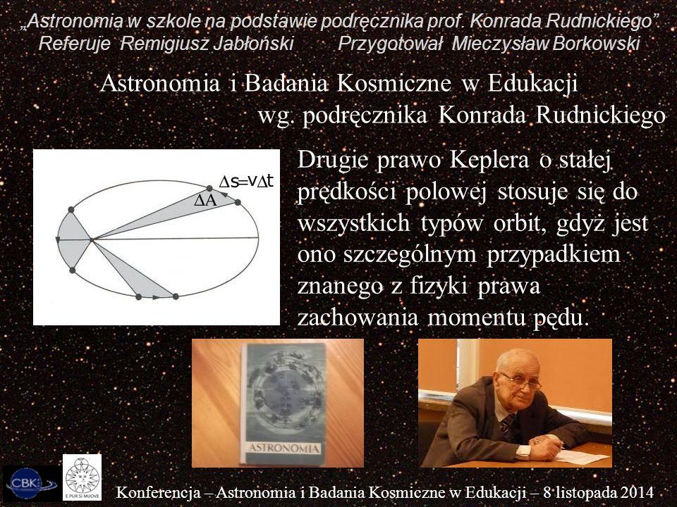 """""""Astronomia w szkole na podstawie podręcznika prof. Konrada Rudnickiego"""" Referuje Remigiusz Jabłoński Przygotował Mieczysław Borkowski Konferencja – A"""