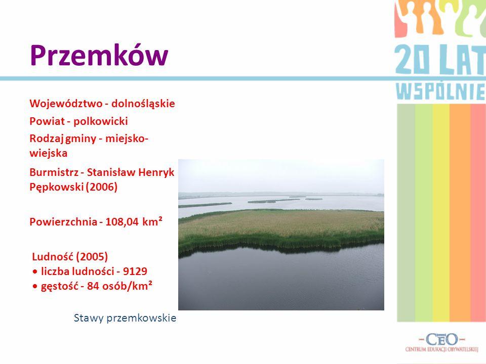 Przemków Województwo - dolnośląskie Powiat - polkowicki Rodzaj gminy - miejsko- wiejska Burmistrz - Stanisław Henryk Pępkowski (2006) Powierzchnia - 1