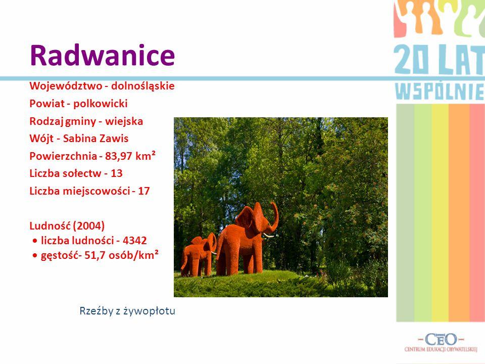 Radwanice Województwo - dolnośląskie Powiat - polkowicki Rodzaj gminy - wiejska Wójt - Sabina Zawis Powierzchnia - 83,97 km² Liczba sołectw - 13 Liczba miejscowości - 17 Ludność (2004) liczba ludności - 4342 gęstość- 51,7 osób/km² Rzeźby z żywopłotu