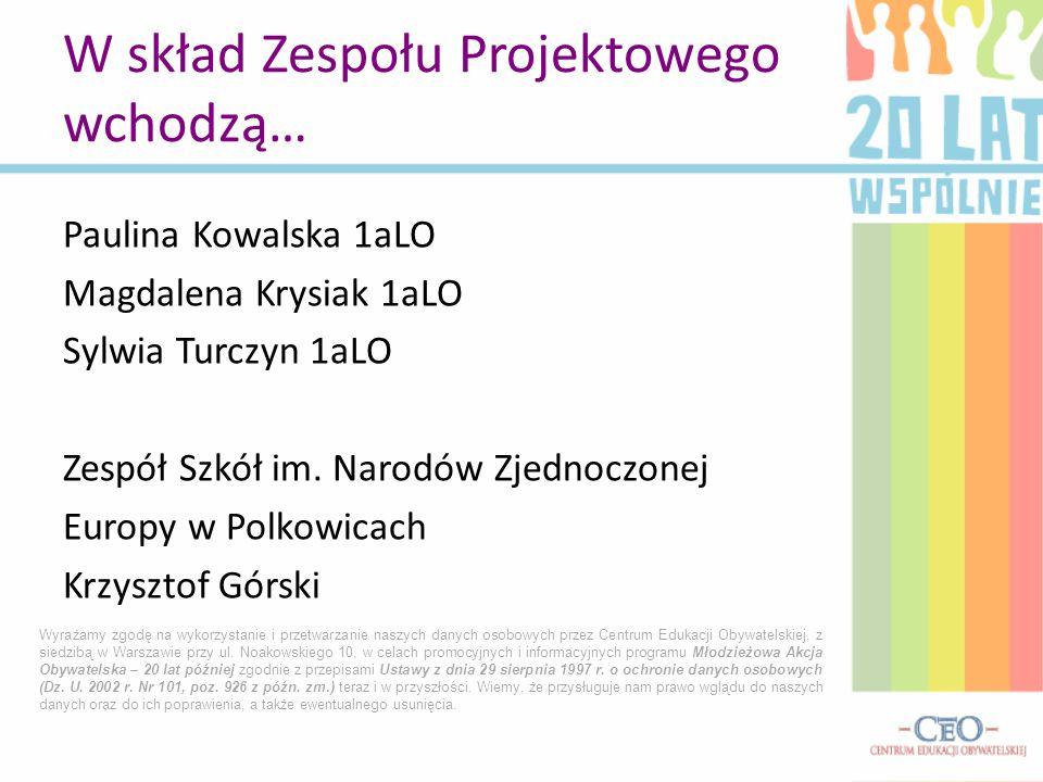 Paulina Kowalska 1aLO Magdalena Krysiak 1aLO Sylwia Turczyn 1aLO Zespół Szkół im.