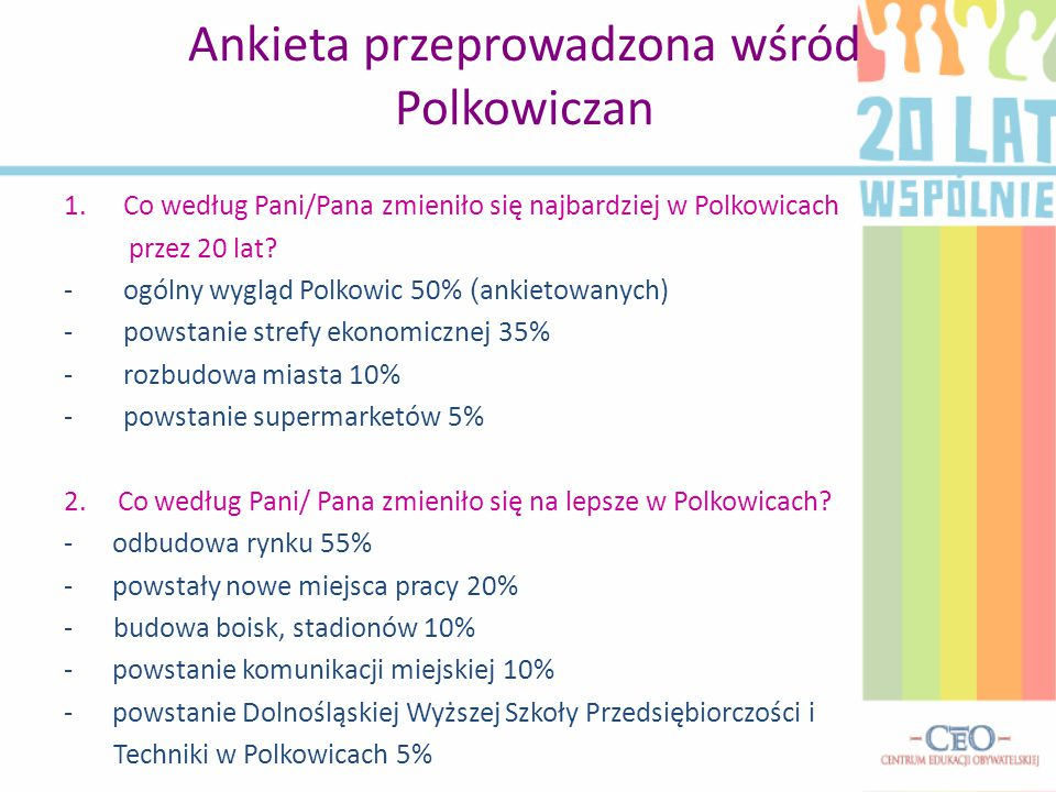 Ankieta przeprowadzona wśród Polkowiczan 1.Co według Pani/Pana zmieniło się najbardziej w Polkowicach przez 20 lat? -ogólny wygląd Polkowic 50% ( anki