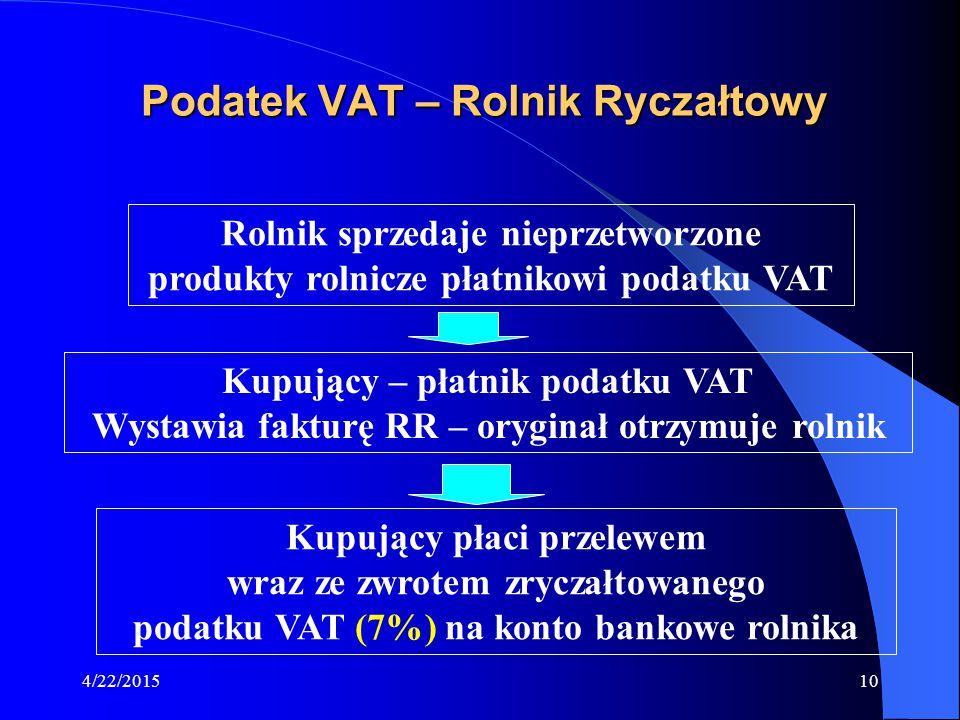 4/22/201510 Podatek VAT – Rolnik Ryczałtowy Rolnik sprzedaje nieprzetworzone produkty rolnicze płatnikowi podatku VAT Kupujący – płatnik podatku VAT W