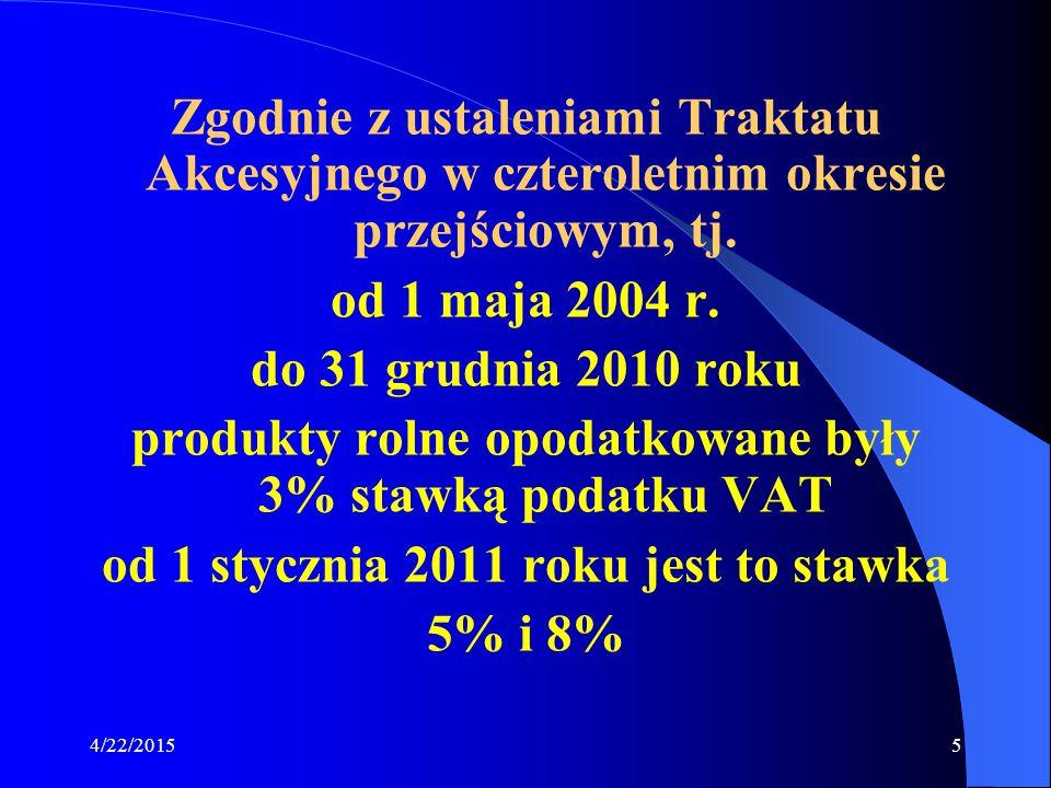 4/22/20155 Zgodnie z ustaleniami Traktatu Akcesyjnego w czteroletnim okresie przejściowym, tj. od 1 maja 2004 r. do 31 grudnia 2010 roku produkty roln