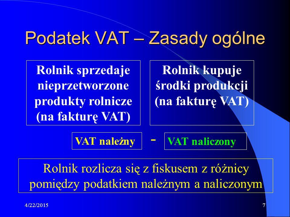 4/22/20157 Podatek VAT – Zasady ogólne Rolnik sprzedaje nieprzetworzone produkty rolnicze (na fakturę VAT) Rolnik kupuje środki produkcji (na fakturę