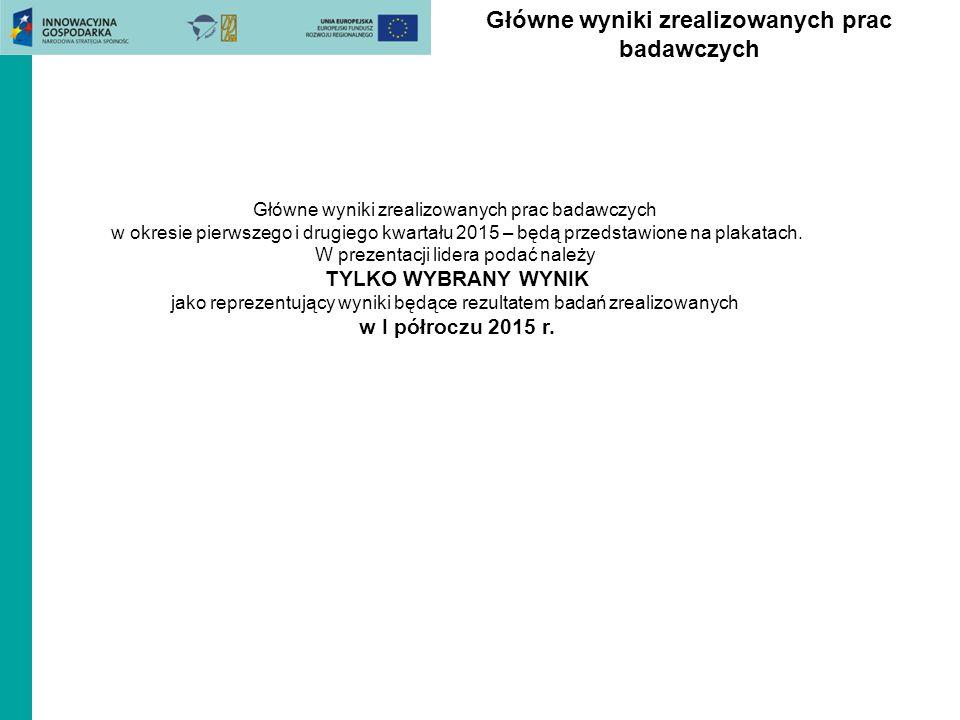 Główne wyniki zrealizowanych prac badawczych w okresie pierwszego i drugiego kwartału 2015 – będą przedstawione na plakatach.