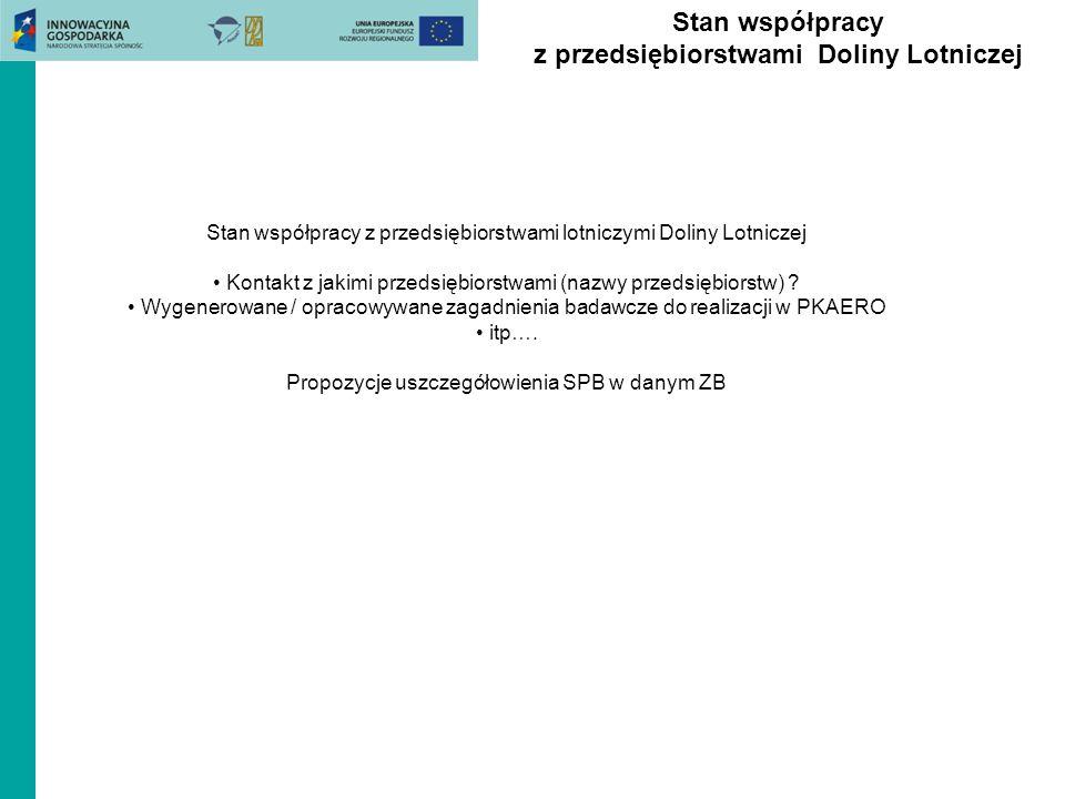 Stan współpracy z przedsiębiorstwami Doliny Lotniczej Stan współpracy z przedsiębiorstwami lotniczymi Doliny Lotniczej Kontakt z jakimi przedsiębiorstwami (nazwy przedsiębiorstw) .