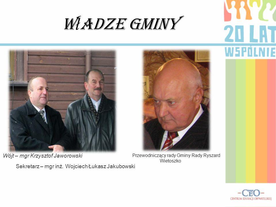 W ł adze Gminy Wójt – mgr Krzysztof Jaworowski Sekretarz – mgr inż.