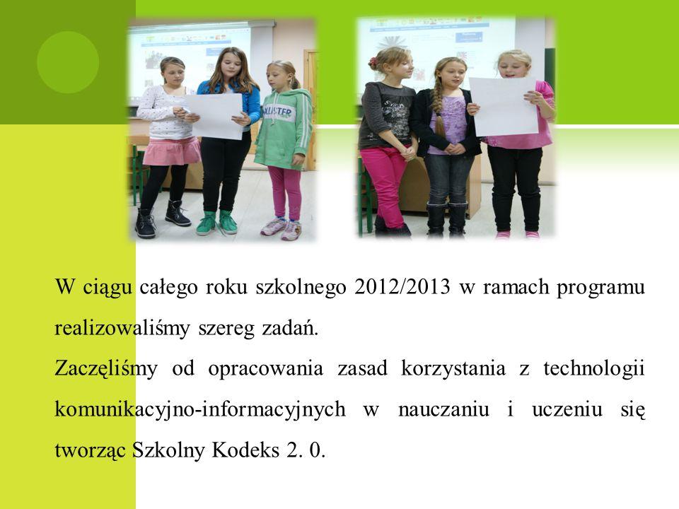 W ciągu całego roku szkolnego 2012/2013 w ramach programu realizowaliśmy szereg zadań.