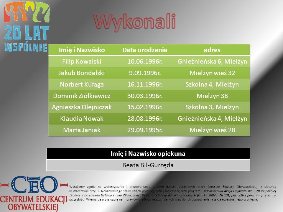 Imię i Nazwisko opiekuna Beata Bil-Gurzęda Wyrażamy zgodę na wykorzystanie i przetwarzanie naszych danych osobowych przez Centrum Edukacji Obywatelskiej, z siedzibą w Warszawie przy ul.