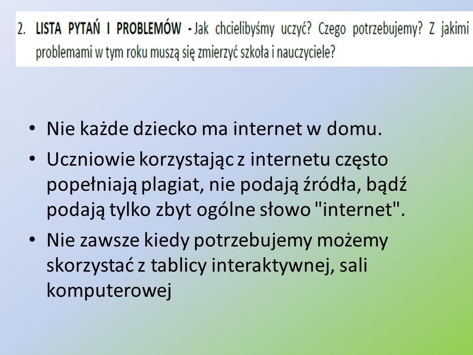 Nie każde dziecko ma internet w domu. Uczniowie korzystając z internetu często popełniają plagiat, nie podają źródła, bądź podają tylko zbyt ogólne sł