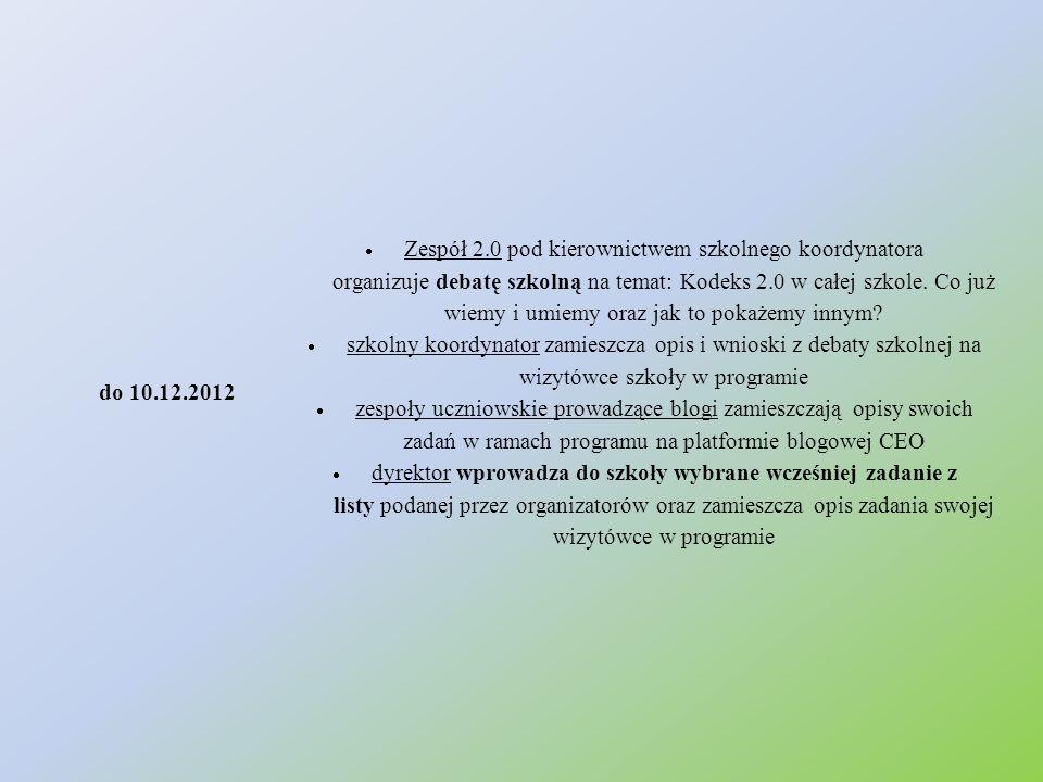 do 10.12.2012  Zespół 2.0 pod kierownictwem szkolnego koordynatora organizuje debatę szkolną na temat: Kodeks 2.0 w całej szkole. Co już wiemy i umie