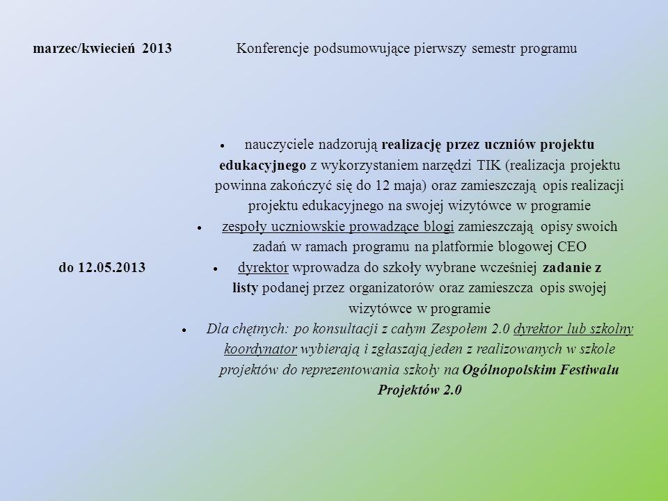 marzec/kwiecień 2013Konferencje podsumowujące pierwszy semestr programu do 12.05.2013  nauczyciele nadzorują realizację przez uczniów projektu edukac