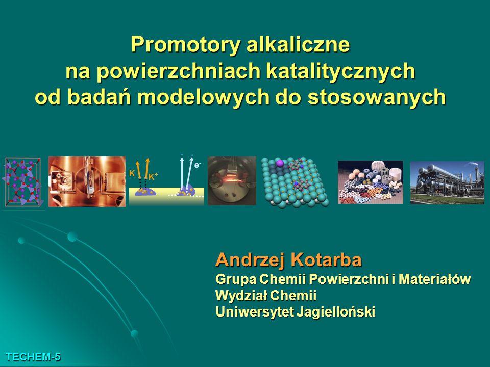 Promotory alkaliczne na powierzchniach katalitycznych od badań modelowych do stosowanych Andrzej Kotarba Grupa Chemii Powierzchni i Materiałów Wydział Chemii Uniwersytet Jagielloński K K+K+ e-e- TECHEM-5