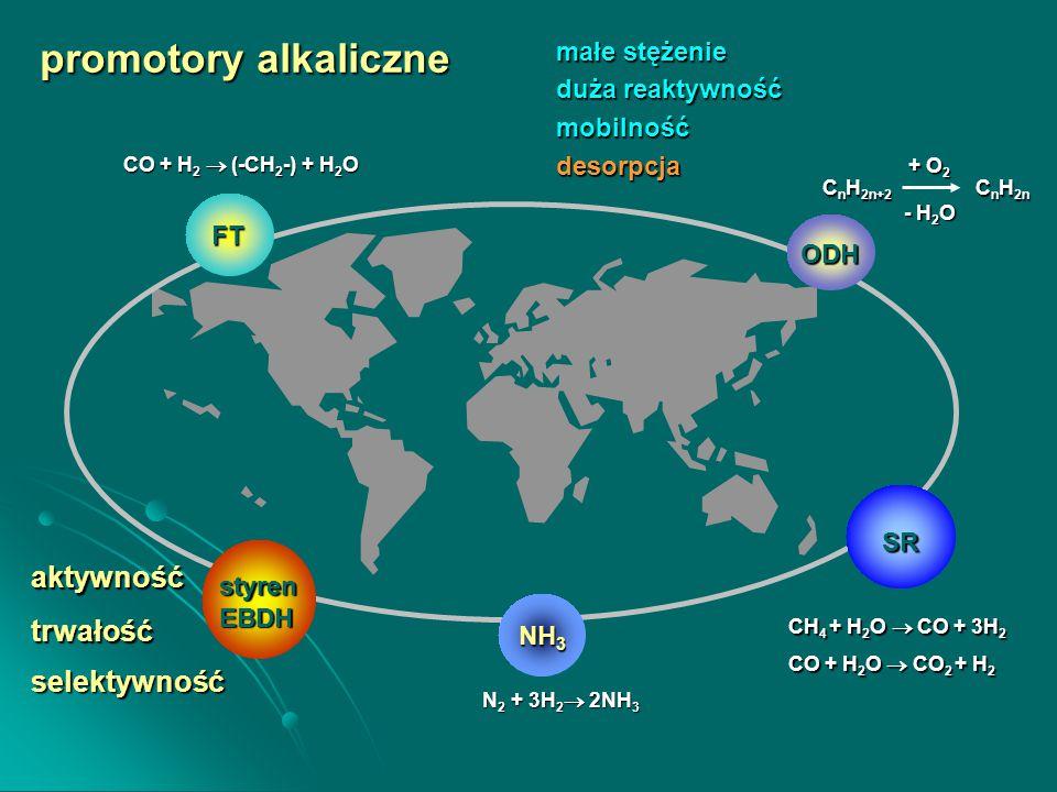 FT SR trwałość promotory alkaliczne aktywność selektywność NH 3 styrenEBDH CH 4 + H 2 O  CO + 3H 2 CO + H 2 O  CO 2 + H 2 N 2 + 3H 2  2NH 3 CO + H 2  (-CH 2 -) + H 2 O ODH małe stężenie duża reaktywność mobilnośćdesorpcja C n H 2n+2 C n H 2n + O 2 - H 2 O