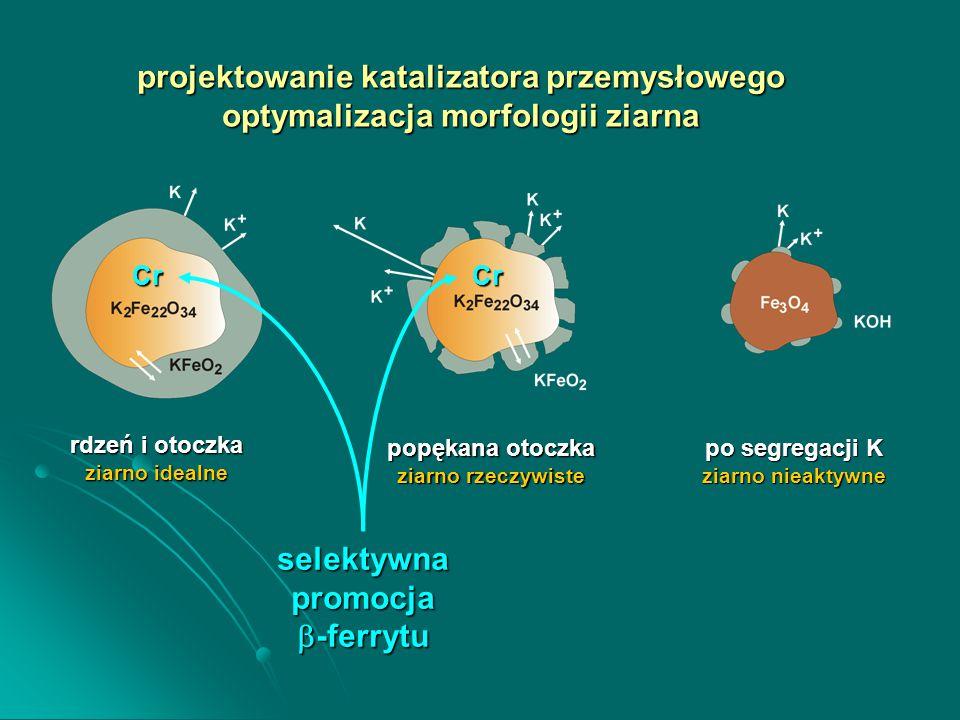 rdzeń i otoczka ziarno idealne popękana otoczka ziarno rzeczywiste po segregacji K ziarno nieaktywne projektowanie katalizatora przemysłowego optymalizacja morfologii ziarna selektywnapromocja  -ferrytu CrCr