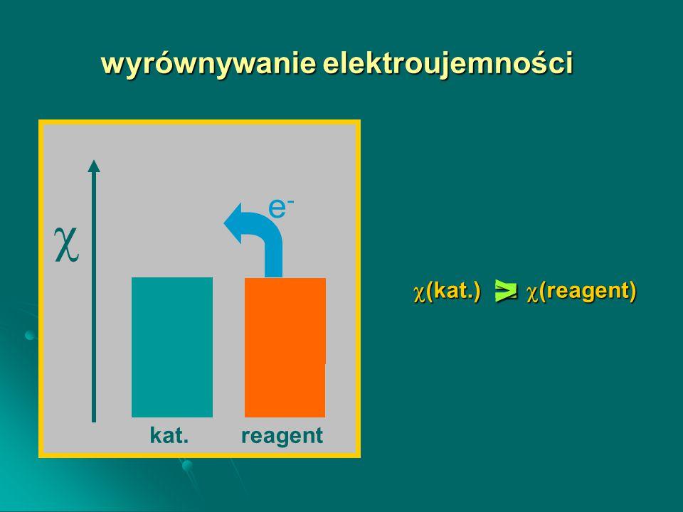 wyrównywanie elektroujemności  (kat.)   (reagent) e-e- reagentkat. =>