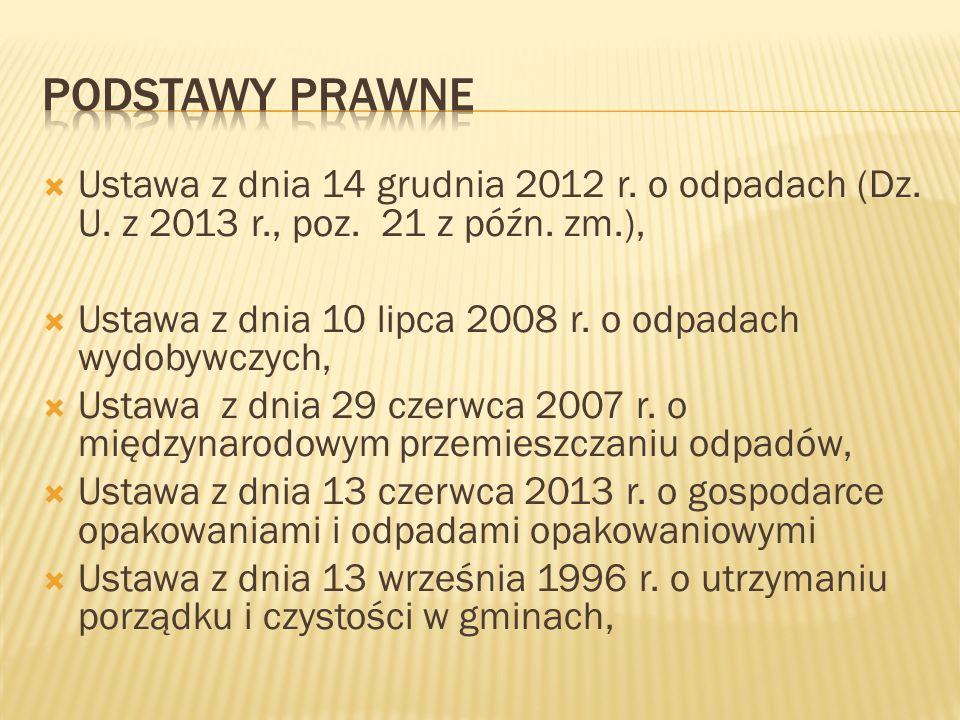  Ustawa z dnia 14 grudnia 2012 r. o odpadach (Dz. U. z 2013 r., poz. 21 z późn. zm.),  Ustawa z dnia 10 lipca 2008 r. o odpadach wydobywczych,  Ust