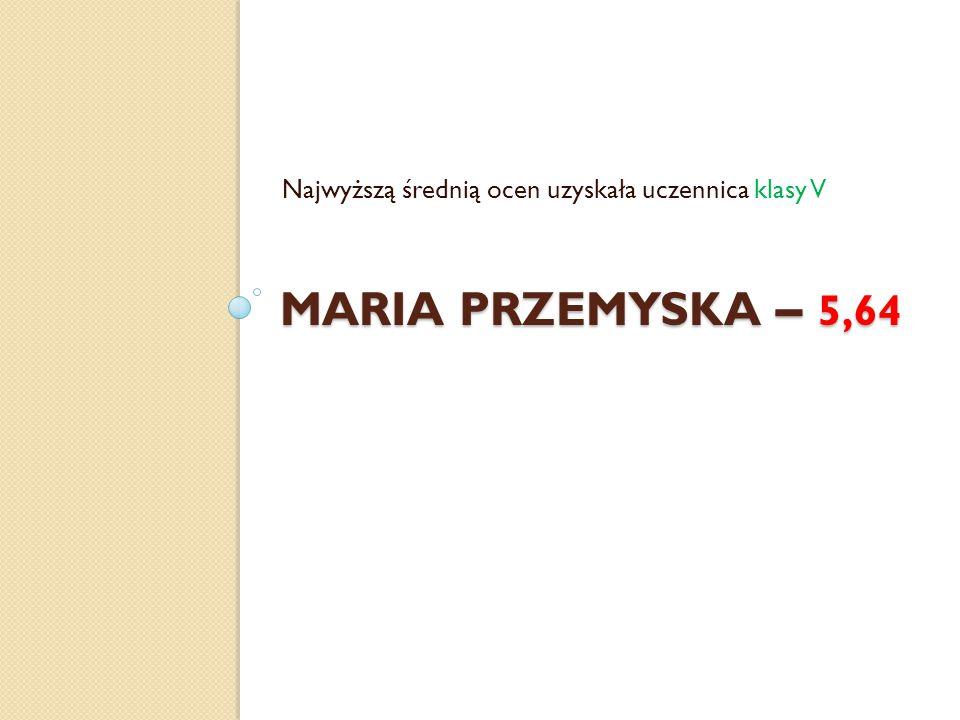 MARIA PRZEMYSKA – 5,64 Najwyższą średnią ocen uzyskała uczennica klasy V