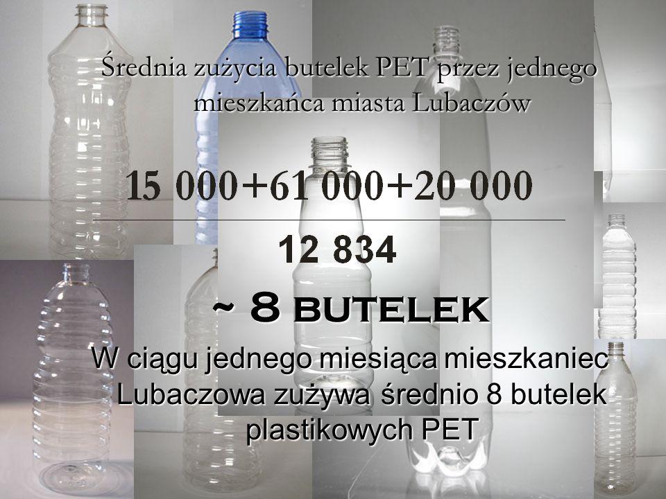 Średnie zużycie butelek PET przez mieszkańca miasta Lubaczów Zużycie butelek PET w sklepach najczęściej uczęszczanych przez mieszkańców miasta Lubaczó