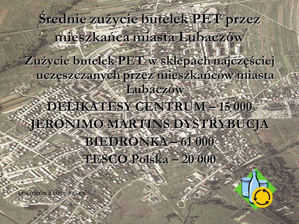 Średnie zużycie butelek PET przez mieszkańca miasta Lubaczów Zużycie butelek PET w sklepach najczęściej uczęszczanych przez mieszkańców miasta Lubaczów DELIKATESY CENTRUM – 15 000 JERONIMO MARTINS DYSTRYBUCJA BIEDRONKA – 61 000 TESCO Polska – 20 000 LUBACZÓW Z LOTU PTAKA