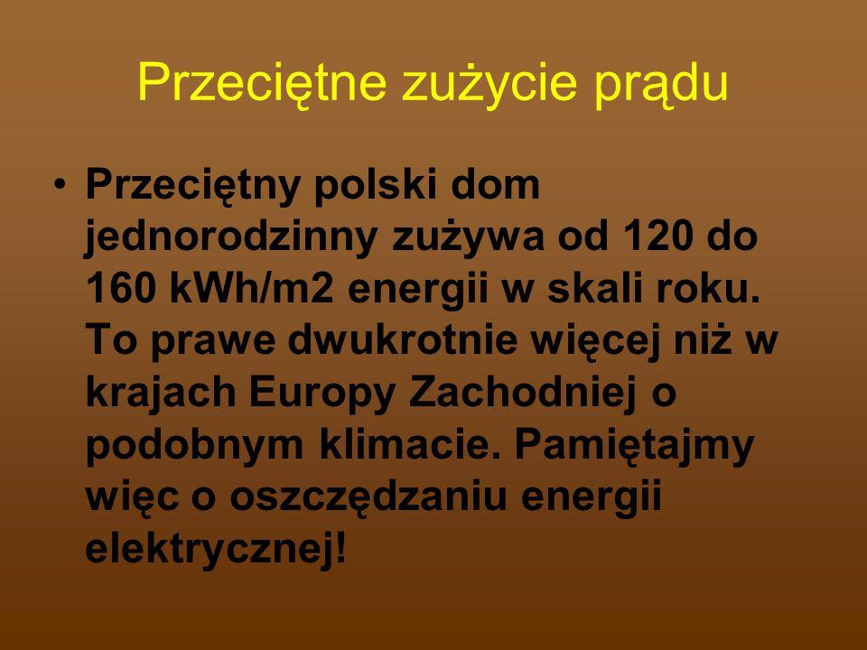 Przeciętne zużycie prądu Przeciętny polski dom jednorodzinny zużywa od 120 do 160 kWh/m2 energii w skali roku. To prawe dwukrotnie więcej niż w krajac