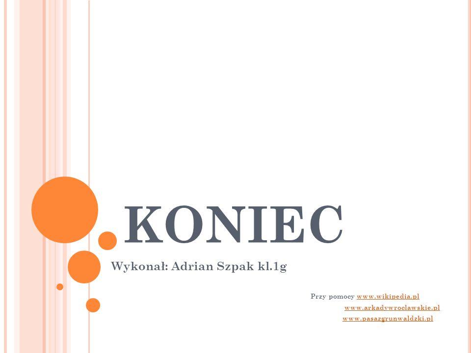 KONIEC Wykonał: Adrian Szpak kl.1g Przy pomocy www.wikipedia.plwww.wikipedia.pl www.arkadywroclawskie.pl www.pasazgrunwaldzki.pl