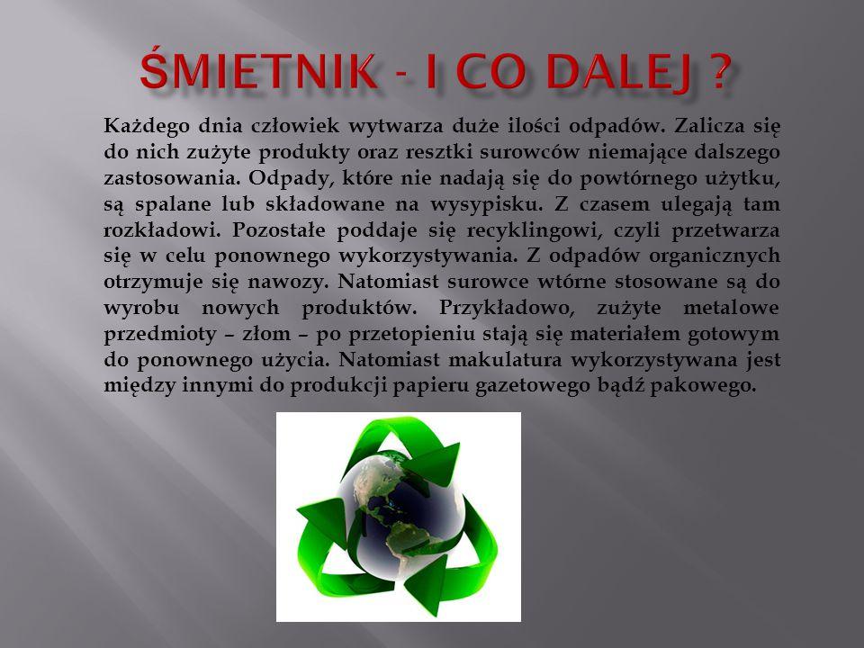 Każdego dnia człowiek wytwarza duże ilości odpadów. Zalicza się do nich zużyte produkty oraz resztki surowców niemające dalszego zastosowania. Odpady,
