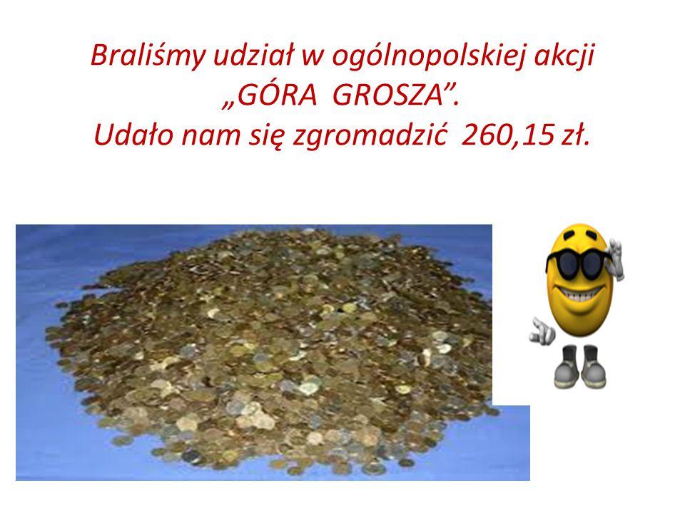 """Braliśmy udział w ogólnopolskiej akcji """"GÓRA GROSZA . Udało nam się zgromadzić 260,15 zł."""