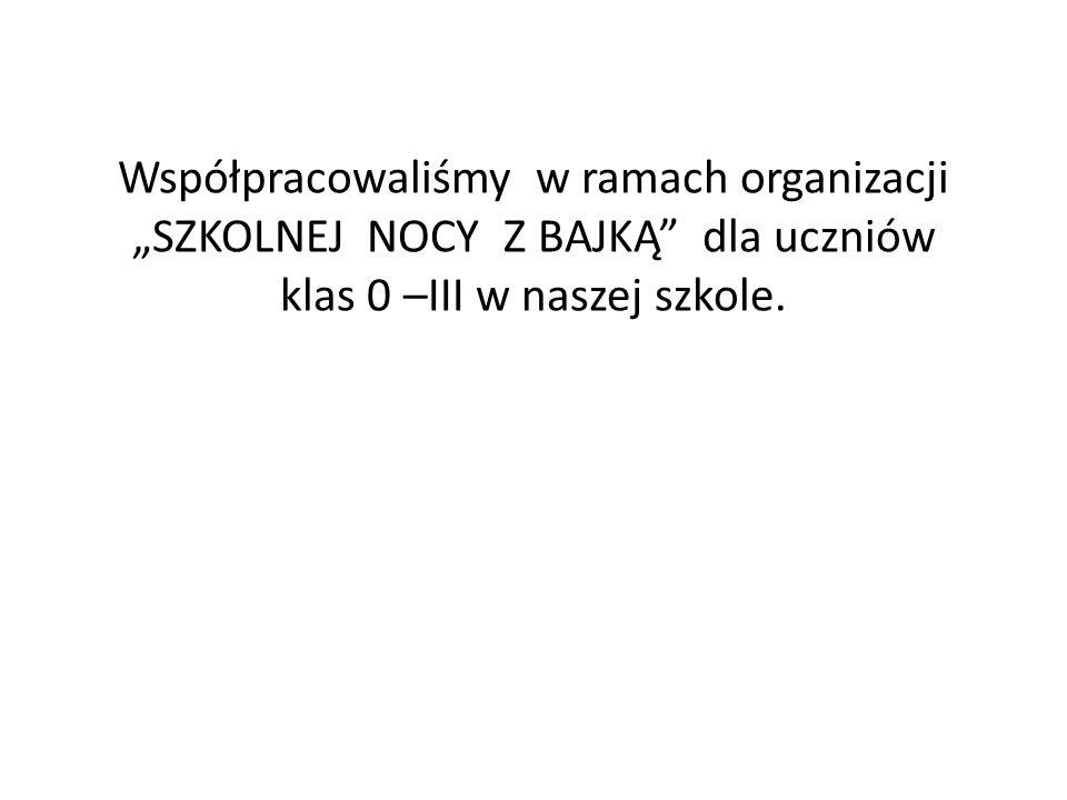 """Współpracowaliśmy w ramach organizacji """"SZKOLNEJ NOCY Z BAJKĄ dla uczniów klas 0 –III w naszej szkole."""