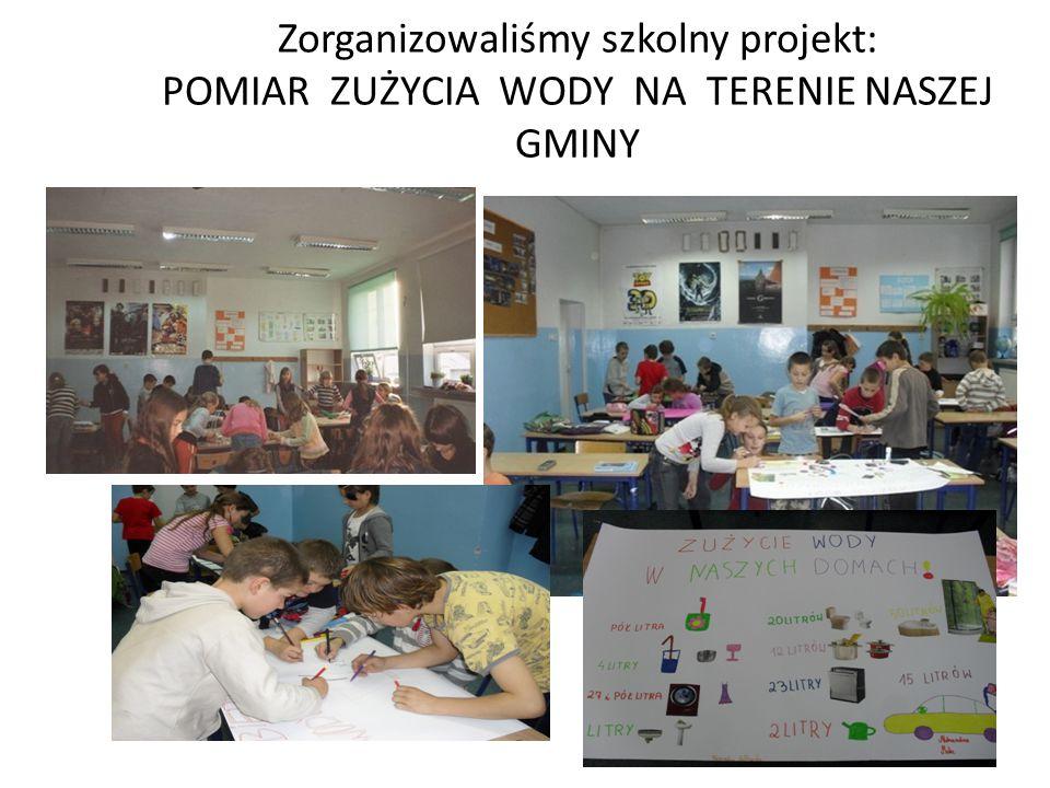 Zorganizowaliśmy szkolny projekt: POMIAR ZUŻYCIA WODY NA TERENIE NASZEJ GMINY