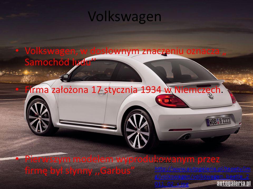 """Volkswagen Volkswagen, w dosłownym znaczeniu oznacza """" Samochód ludu'' Firma założona 17 stycznia 1934 w Niemczech. Pierwszym modelem wyprodukowanym p"""