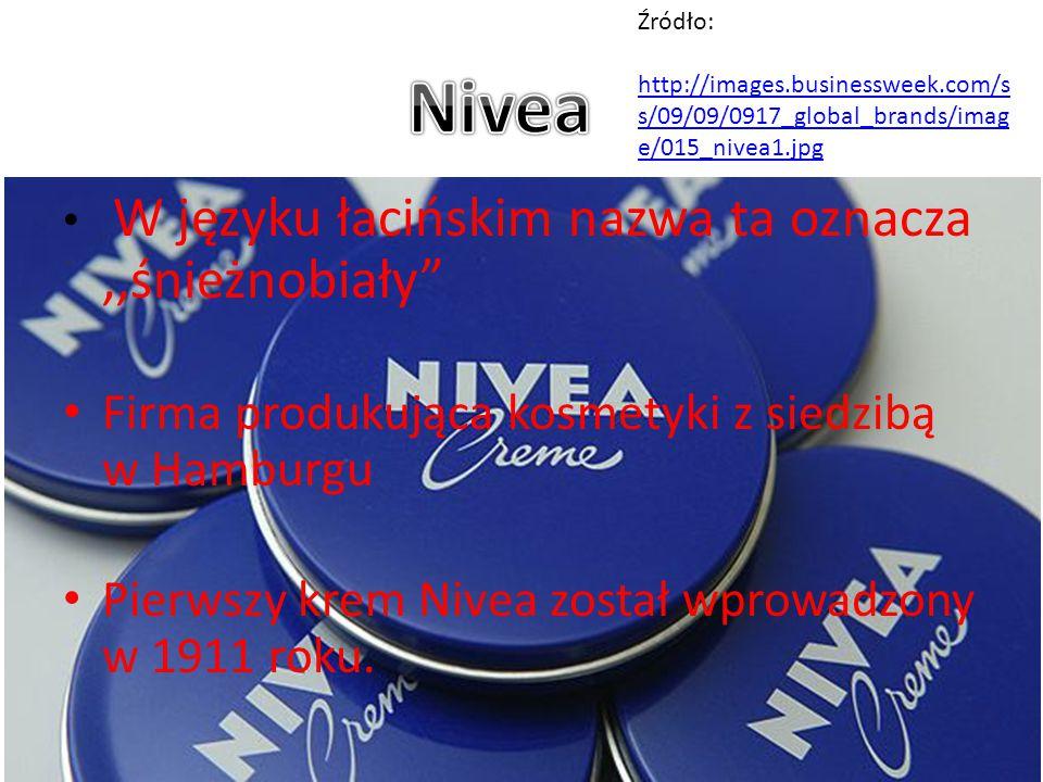 """W języku łacińskim nazwa ta oznacza,,śnieżnobiały"""" Firma produkująca kosmetyki z siedzibą w Hamburgu Pierwszy krem Nivea został wprowadzony w 1911 rok"""